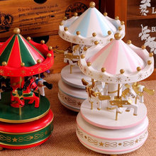 New Wooden Merry-Go-Round Carousel Music Box For Kids Wedding Gift Toy(China)