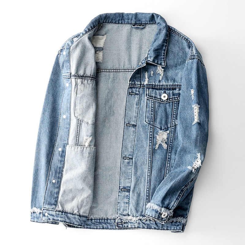 ホップメンズ特大デニムジャケットレトロパッチワークリッピングジーンズジャケット男性ファッションコートボンバージャケットカニエ西