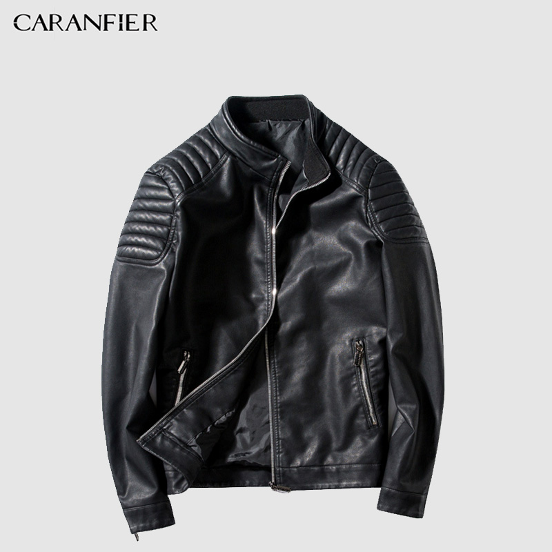 CARANFIER Faux Leather Men 2018 Autumn Winter New Style Men's Motorcycle Coat Handsome Collar Leather Thin Section Slim Jacket-in Faux Leather Coats from Men's Clothing    1