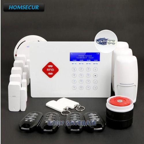 Cheap HOMSECUR App Controlled Wireless GSM RFID Home Security Alarm System with Smoke Sensor+5*Door Sensor