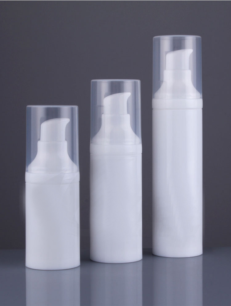 30ML white airless bottle white body,wite bird mouth shape pump , transparent lid for serum/lotion/foundation packing