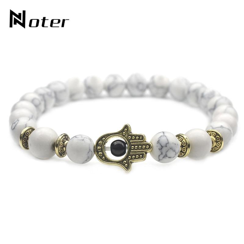 Noter White Natural Stone Beads Mens Bracelets Charm Handmade Hamsa Fatima Hand Braslet For Male Jewelry bileklik masculino