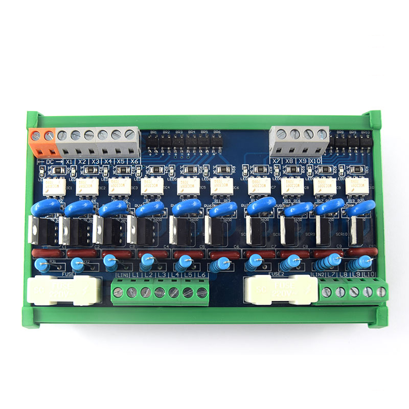 10-channel PLC AC amplifier board, output power board, optocoupler isolation board, contactless relay ac 0 250v 16 channel relay module silicon controlled plc output amplifier board