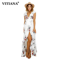 VITIANA 2017 Women Summer Vacation Bohemian Beach Dress White Black Flower Print Boho Maxi Long Casual