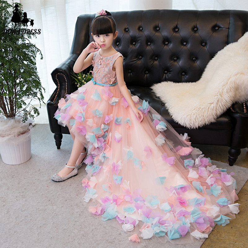 Spring Summer New Elegant Children Girls Birthday Wedding Party Long Tail Princess Flowers Dress Kids Baby Evening Party dress 2018 summer new kids baby white color princess lace flowers dress for birthday party children girls wedding evening party dress