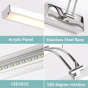 Image 5 - LED ミラーライト 40 50 センチメートル防水現代の美容壁ランプステンレス浴室燭台ランプキャビネット照明デコレーションライト