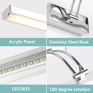 Image 5 - LED Mirror Light 40 50cm Waterproof Modern Cosmetic Wall Lamp Stainless Bathroom sconce lamps Cabinet lighting Decoration Lights