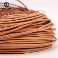 Cordón de cuero genuino WUTA 2-5-10 metros cuerda de encaje plano Natural Veg-tan correa de cuero cuerdas de cuerda tejida collar 1,5-5mm