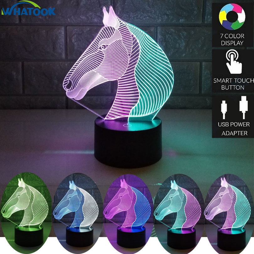 Horse Head Double Color Abajur Led Lights Magic Table Lamp 7 Color Change 3D Visual Night light USB Baby Horse Toy Home Decor cool skull middle finger 3d skull decor 3d usb led lamp pop rock music boy room decor 7 colors change night light visual illusio