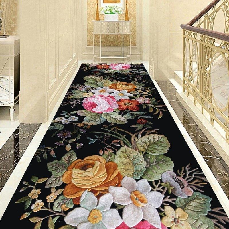 3D Big Flower Stair Carpet Living Room Decorative Corridor Carpet Hotel Aisle Rug Entrance/Hallway Doormat Customize Bedroom Rug