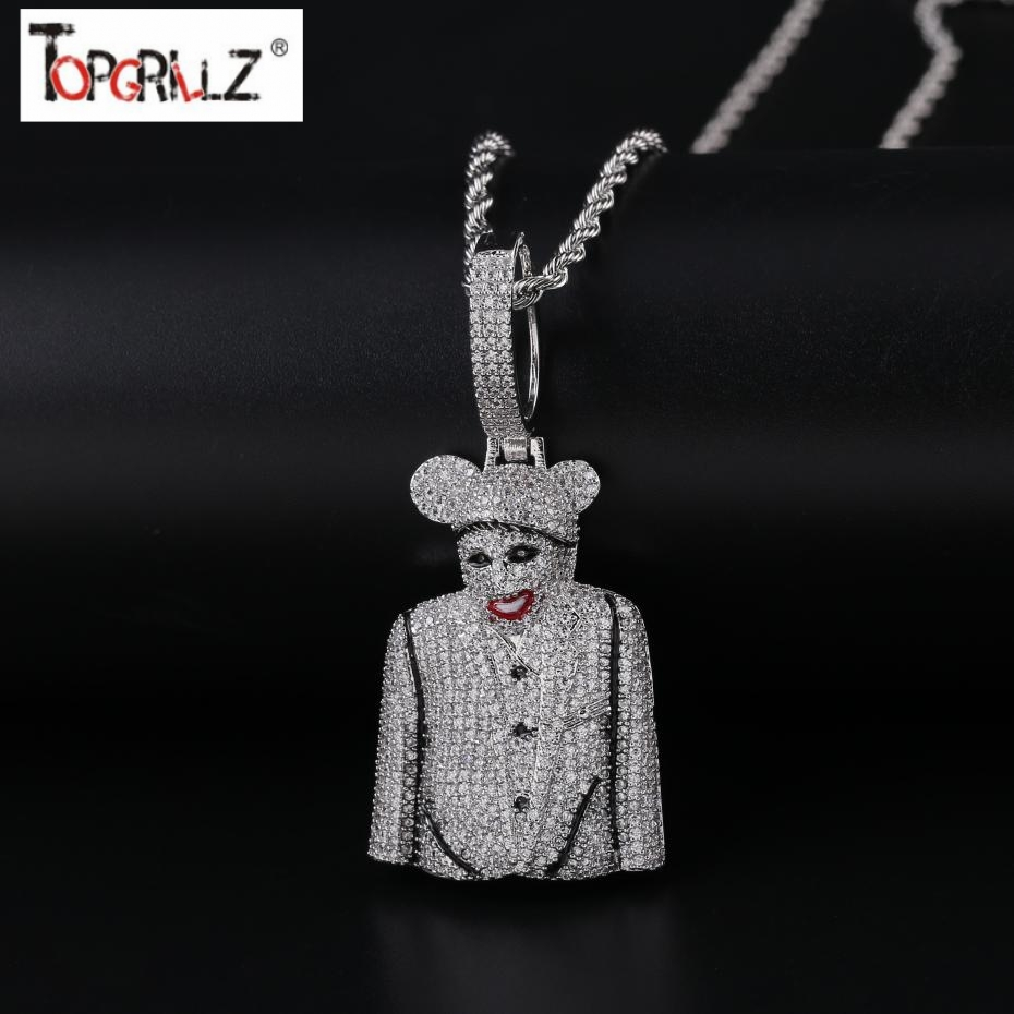 New Fashion Iced Out 3D Clown Figure Pendant Necklace Mens With Tennis Chain Bling Hip Hop Gold Silver Color Charm Chain JewelryNew Fashion Iced Out 3D Clown Figure Pendant Necklace Mens With Tennis Chain Bling Hip Hop Gold Silver Color Charm Chain Jewelry