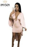 IMYSEN 2018 Primavera Verano Otoño Mujeres Sexy Vestido Sólido Rosa Profunda V Cuello Manga Murciélago Capa Vestidos de Mini Vestidoes