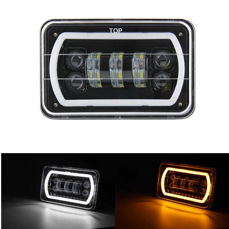 4x6 светодиодный фонарь для автомобиля Белый halo DRL Янтарный указатель поворота морской светодиодный/Низкий Луч Замена для Ford грузовики, внедорожники