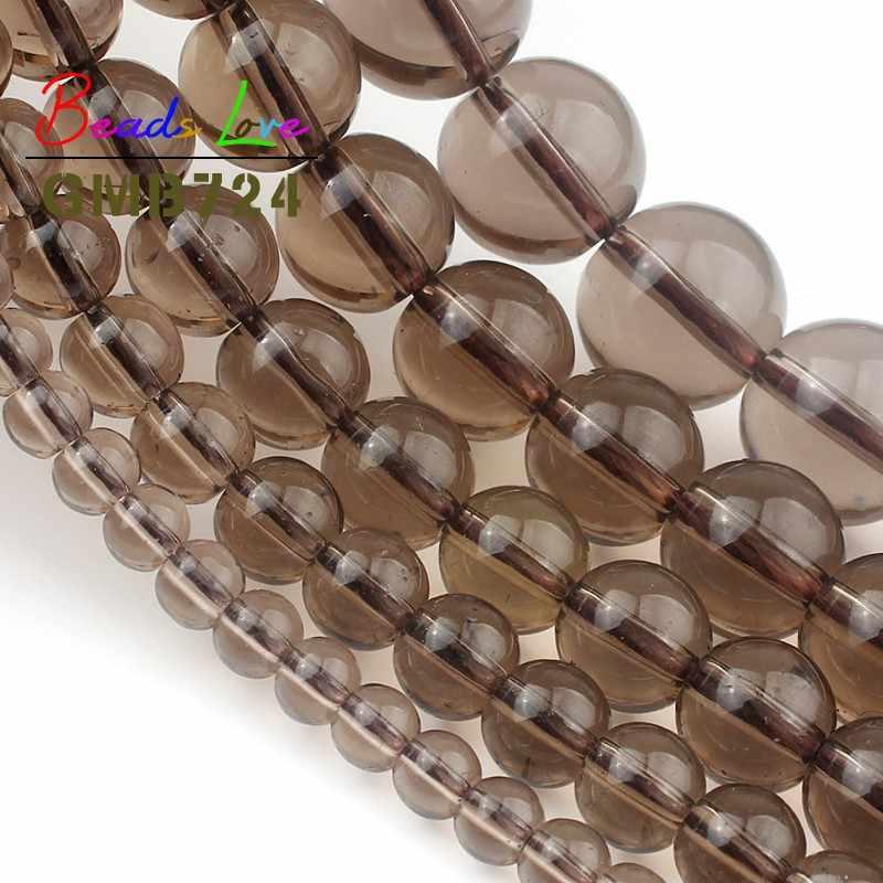 סיטונאי מעושן Quartzs קריסטל אבן זכוכית עגול חרוזים תכשיטי ביצוע DIY צמיד שרשרת אביזרי 4/6/8 /10/12mm 15''
