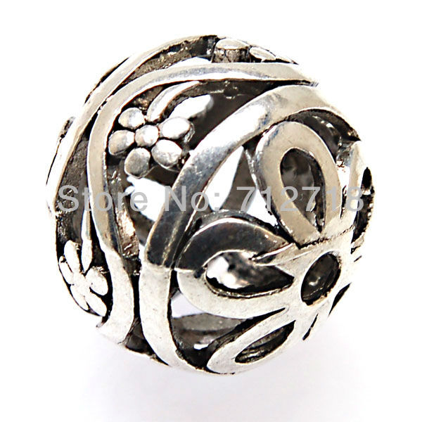 Beads,Tibetan style Antique Silver hollow cast flower filligree Beads 25mm Sold of 25 PCS