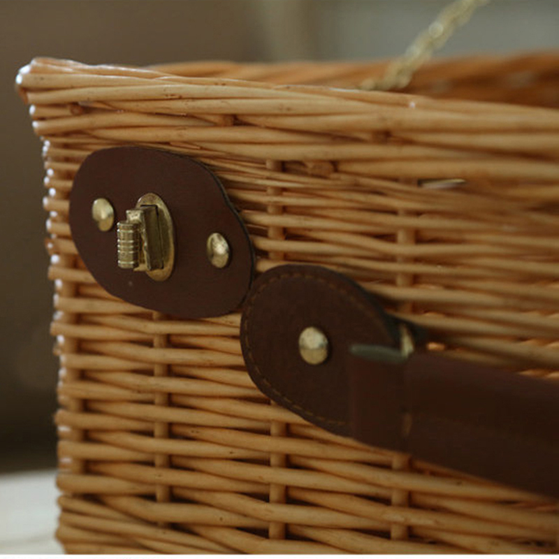 Wicker Basket Wicker Camping Picnic Basket Outdoor Willow Picnic Baskets Handmade Picnic Basket Set for 4 Persons Picnic Party-3