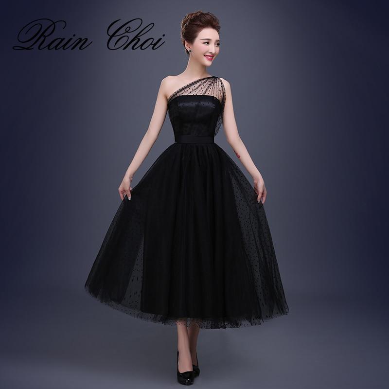 Tea Length Tulle Formal Evening Dress One Shoulder Formal Party