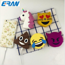 Power Bnak 2600mah Funny Cute Emoji Unicorn Shaped Power Bank PVC Material Charge Mobile Cartoon Powerbank For Mobile Phone