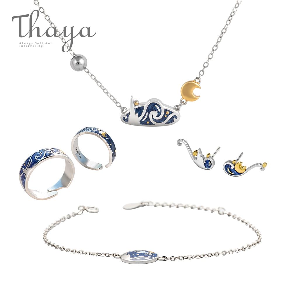 Thaya Van Goghs Fine Jewelry Set Genuine s925 Silver Ring Enamel Necklace Bracelet Earrings Stud for Women Romantic GiftThaya Van Goghs Fine Jewelry Set Genuine s925 Silver Ring Enamel Necklace Bracelet Earrings Stud for Women Romantic Gift