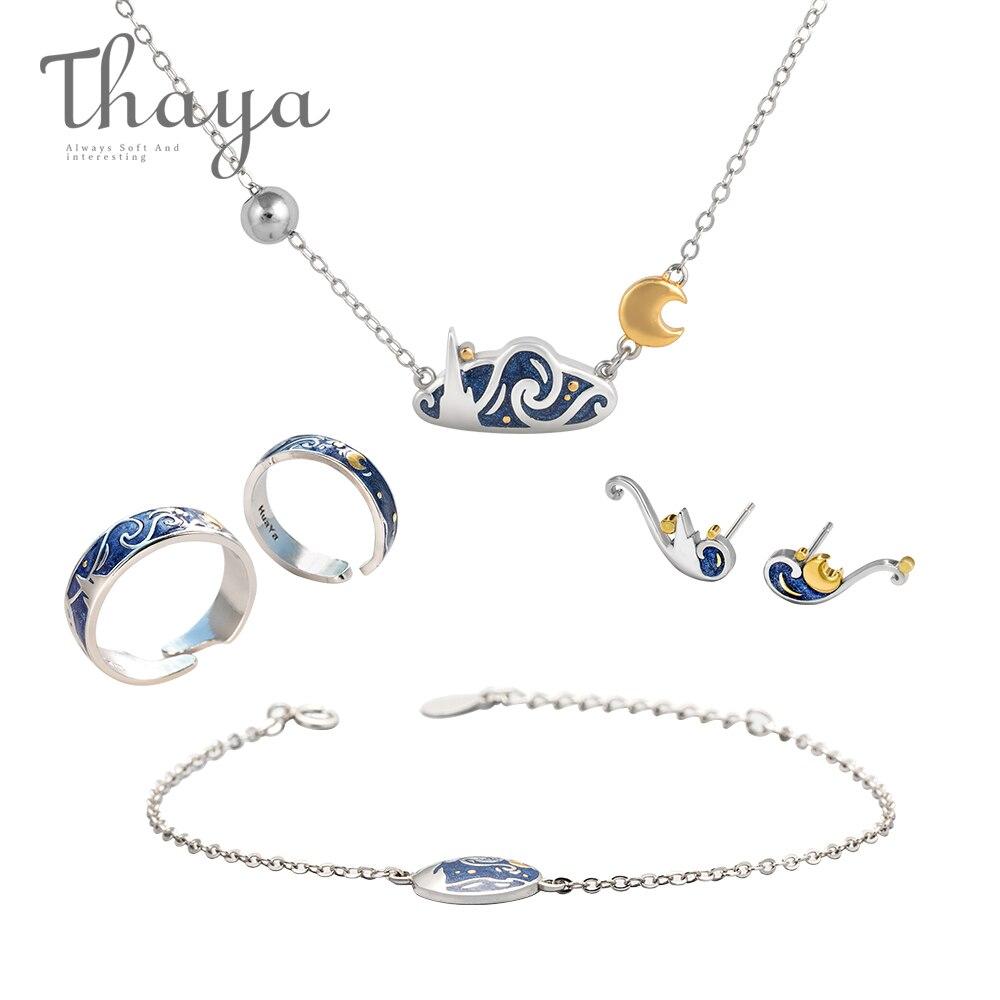 Thaya vincenta Van gogha jest w porządku, zestaw biżuterii oryginalna s925 srebrny pierścień emalia naszyjnik bransoletka kolczyki stadniny dla kobiet romantyczny prezent w Zestawy biżuterii od Biżuteria i akcesoria na  Grupa 1