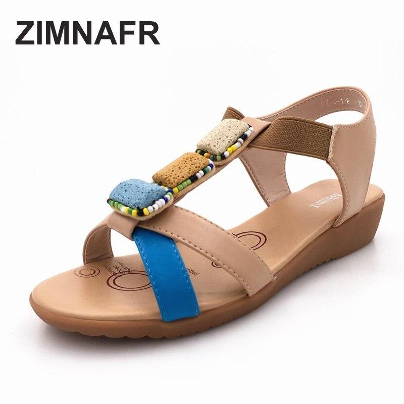 sandale femrash 2017 Sandale për femra të sheshta Bohemian Verë, sandale të buta prej lëkure të buta të rralla antisurid, përmasa 35-43