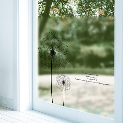 Self Adhesive Frosted Glass Paste Bathroom Bathroom Sliding Door Balcony  Window Stickers D7028 Dandelion(
