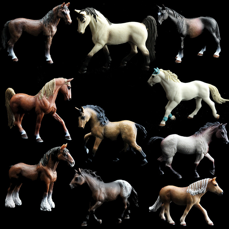 Simulation Animal Model Action Figures Toys Set Horse Kids Early Learning Educational Toys for Children Kids Gifts recur toys high quality horse model high simulation pvc toy hand painted animal action figures soft animal toy gift for kids