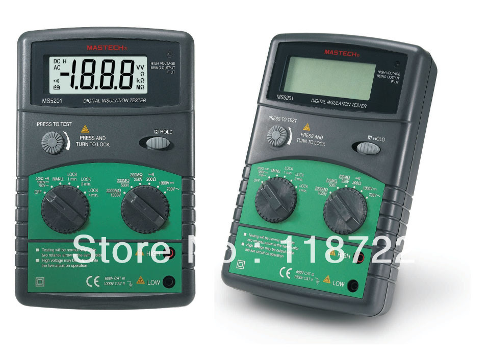 Genuine MASTECH MS5201 Digital megger , Insulation resistance tester , Sound and light alarm digital megger insulation resistance tester sound and light alarm mastech ms5201