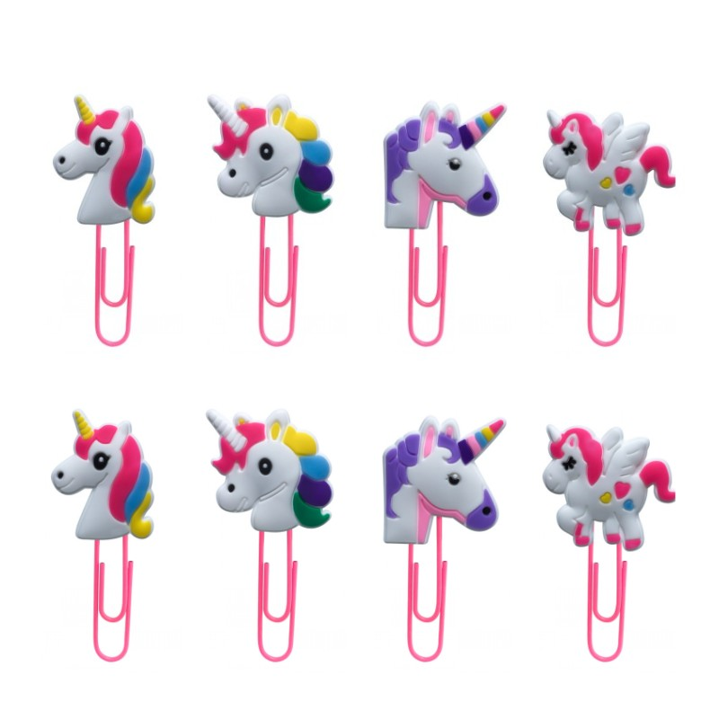 8pcs Unicorns Cute Bookmark For Books Paper Clips Stationery For Student Teacher Office Supply Notes Memo Holder Kids Gift