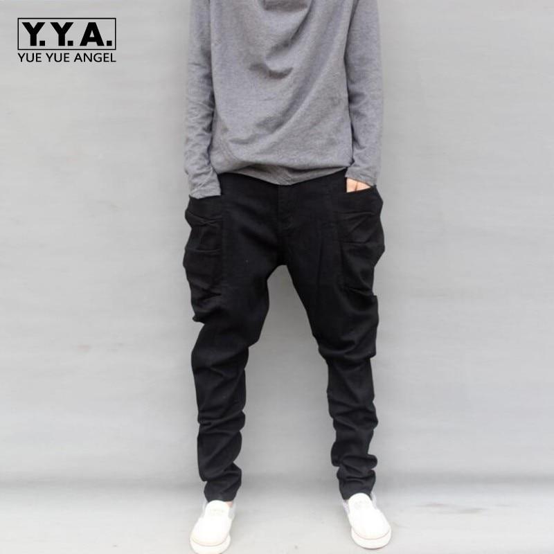 New Arrival 2017 Casual Mens Harem Pants Loose Baggy Black Denim Cotton Trousers Casual Big Pocket Zipper Hombre Pencil Pants