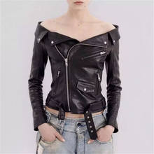 NUVOLE MODE New Autumn Winter Women Sexy Slash Neck Off Shoulder Short Faux Leather Wear Biker Jackets Belted Lnclined(China)
