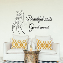 Art Salon Sticker Beautiful Nails Wall Good Mood Quotes Room Decoration Decor Beauty Decal Window Door Mural LY54