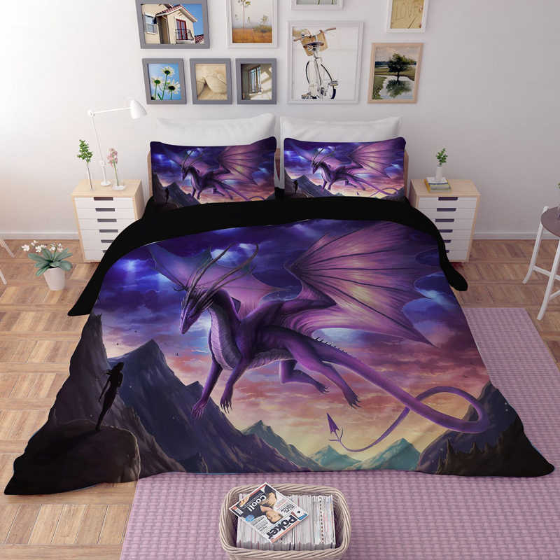 3D animal printing bedding set Dragon comforter bedding sets duvet cover AU EU AU GB 13 Size bedclothes bed linen single double