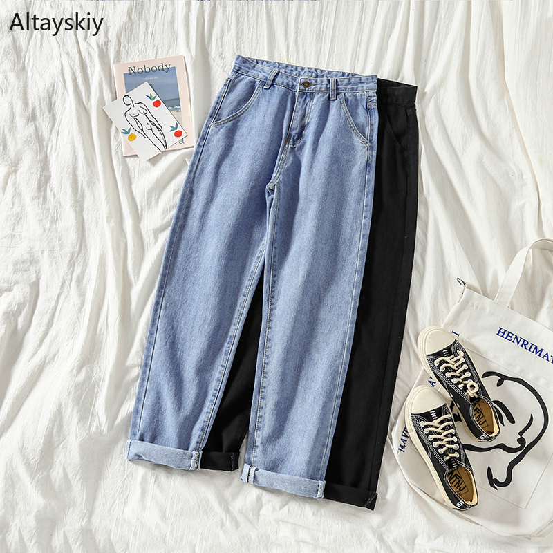 Jeans Women High Waist Female All-match Simple Elegant Korean Style Solid Pockets 2019 Lovely Sweet Womens Daily New Students