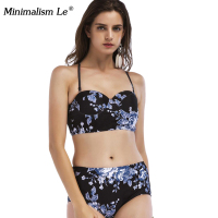 Minimalism Le Hater Top Bikinis 2018 New Swimsuits Sexy High Waist Swimwear Women Leaf Print Biquinis