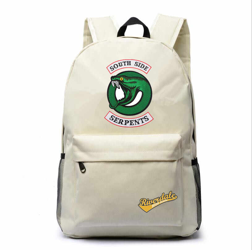 Riverdale South Side Serpents canvas backpack shoulder schoolbag white traveling knapsack Boy Girls packsack