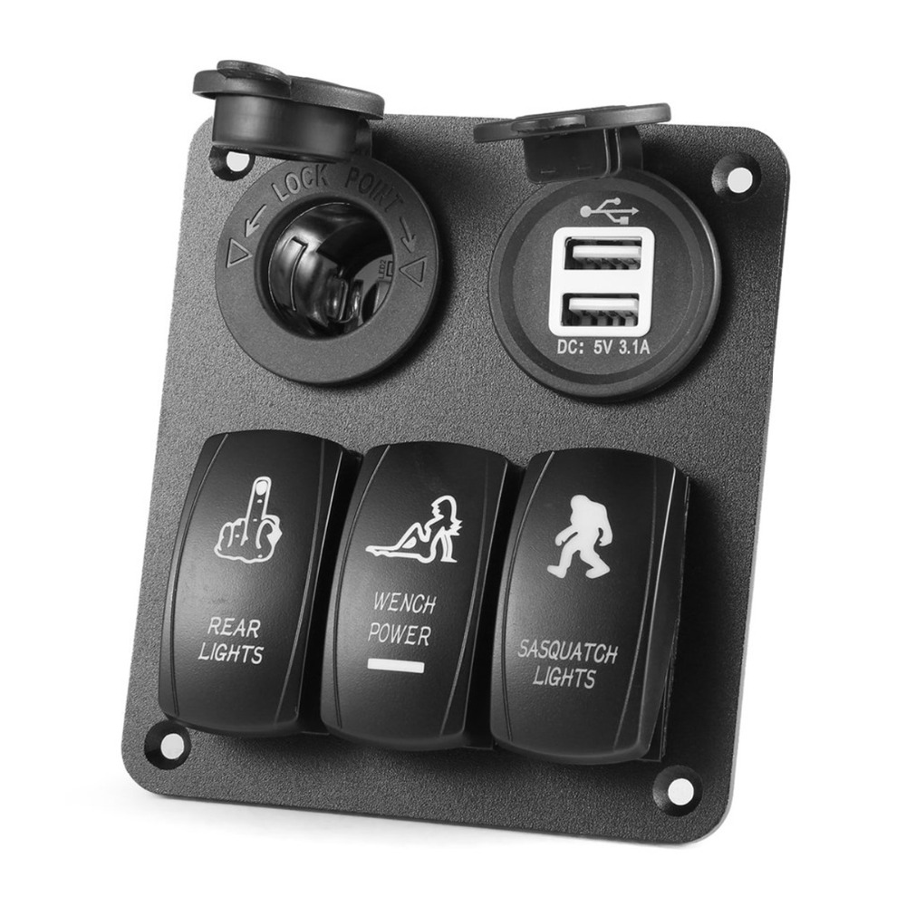 3 Gang Switch Panel Rocker Switch Professional Marine Switch Panel Light Switch Dual USB Socket Charger 12V 24V For Car Boat
