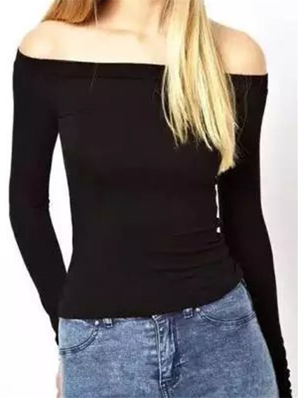 Aliexpress.com : Buy Black Off Shoulder Tight Long Sleeve T shirt ...