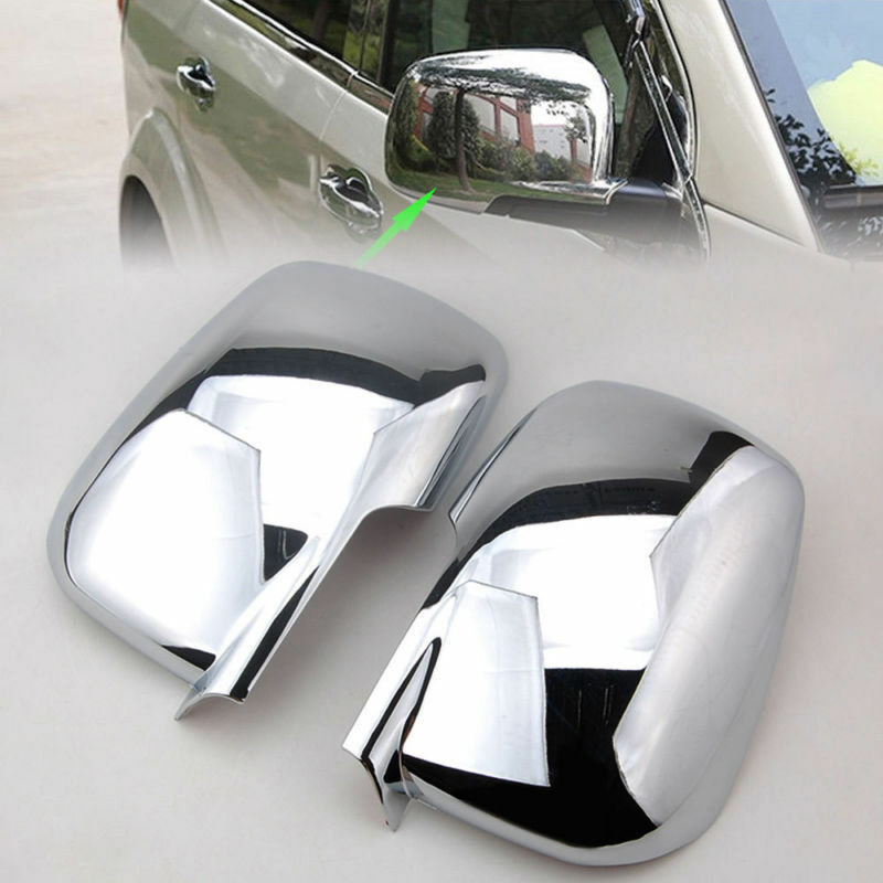 For 09 18 Dodge Chrome Car Rear View Door Side Mirror Cover Trim Frame Pair