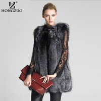 New 2017 Fashion Winter Women Faux Fur Vest Fur Coat Female Slim silver fox fur vest Jacket Ladies Overcoat Size S 6XL PC104