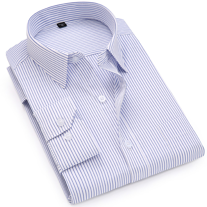 2019 Autumn Classic Men Striped Dress Shirt Long Sleeve Mens Business Formal Office Plus Size 7XL Tops Male Smart Casual Shirts