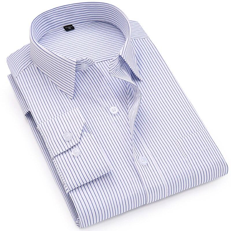 2019 outono clássico dos homens listrado vestido camisa de manga longa negócios formal escritório plus size 7xl topos masculinos camisas casuais inteligentes