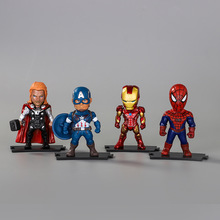 New 1PCS Home decoration Marvel Cinematic Q version of the Avengers Batman spiderman toy US captain Micro-view