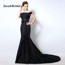 Chic Off the Shoulder Black Evening Dresses Long Black Taffeta Mermaid Lace Up Back Women Prom Gowns With Bow In Stock SD317