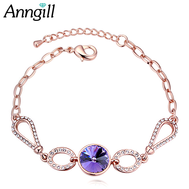 68599297c315 US $4.98 40% OFF|Round Charms Bracelet Crystal From Swarovski Woman'S  Bracelets Silver Color Pulseras Mujer Fashion Jewelry New Year  DropShipping-in ...