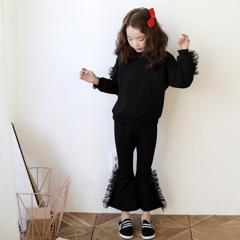 2017 Fashion Outfit for Girls Black Ruffle Clothing Set for Teenage Shcool Kids Clothes Age3456789 10 11 12 13 14T Years Old2017 Fashion Outfit for Girls Black Ruffle Clothing Set for Teenage Shcool Kids Clothes Age3456789 10 11 12 13 14T Years Old
