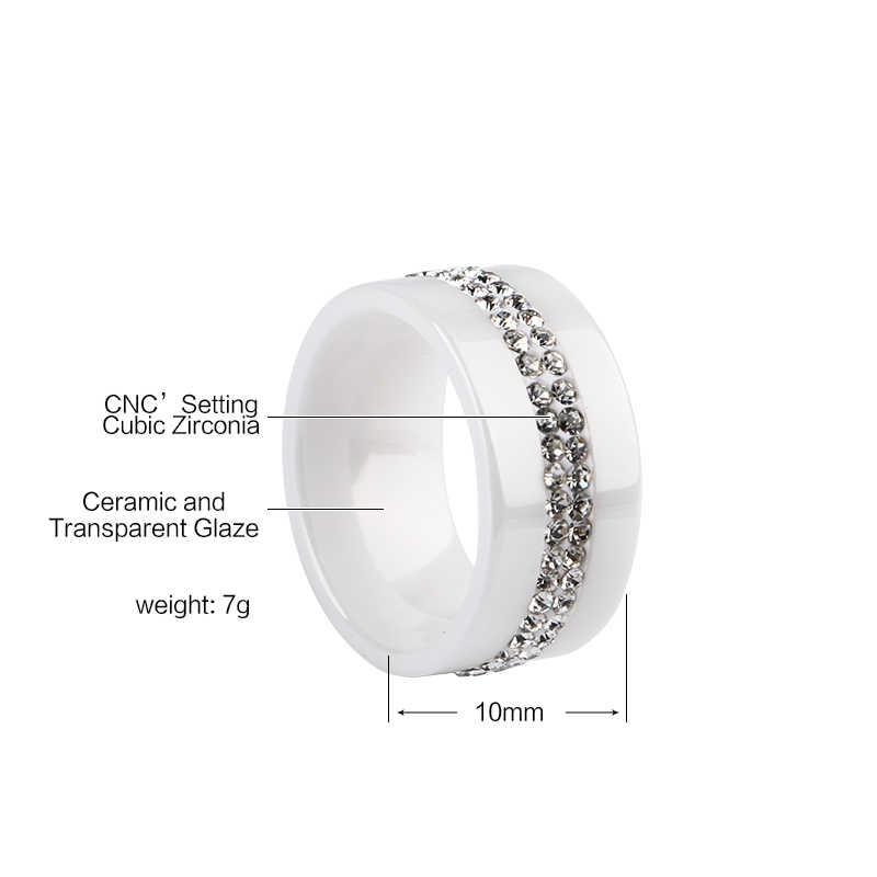 2019 חם 10MM שחור ורוד לבן 2 שורת קריסטל קרמיקה טבעת נשים אירוסין הבטחת נישואים מתנות לנשים טוב באיכות
