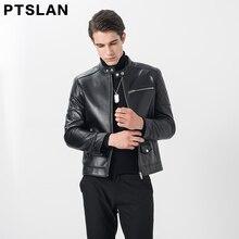 Ptslan New Fashion Men Genuine Leather Jacket Motorcycle Real Sheepskin Locomotive Classic Coats Lapel Black Winter Autumn