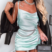 Parthea Summer Dress 2019 Women Glossy Many Way To Wear Party Ruched Lace Up Stretch Elegant Beach Sexy Robe Femme