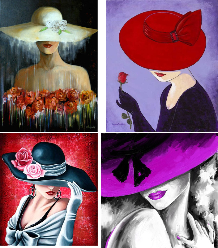 Hand painted abstract paintings woman in hat oil on canvas modern art  Beautiful lady picture for wall decor 11259826982